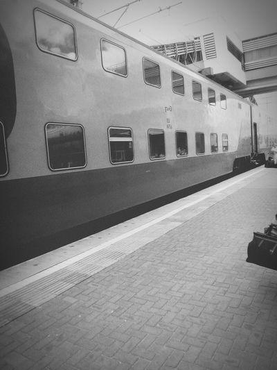Train - Vehicle Train Railroad Station Platform Travel Station KazanCity Kazan Russia RZhD РЖД Passenger Train Black & White Public Transportation