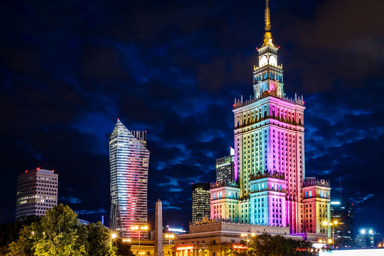 Nightphotography Poland Warsaw Warsaw Poland Warszawa  Architecture Building Exterior Built Structure City Cityscape Europe Illuminated Lgbt Night Office Building Exterior Pride Skyscraper Tall - High Tower Travel Travel Destinations