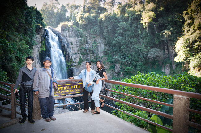 Travel back home with family Heaw narok Waterfall. The KHAOYAI NATIONAL PARK NAKHON RATCHASIMA city in Thailand. Adult Adults Only Candid Connection Day Full Length Inspiration Medium Group Of People Men Nature Outdoors People Real People Togetherness Tree Women Young Adult Young Women Traveling Home For The Holidays