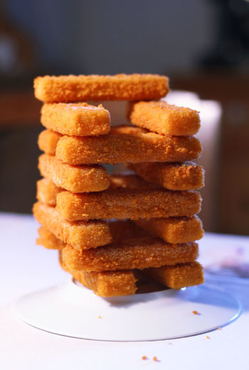 Fried Fish Stacked On Table