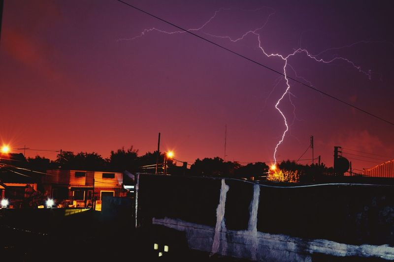 Rayo Tormenta Storm Night City Illuminated Travel Destinations Landscape Tree Nature Sky Architecture Beauty In Nature No People Scenics Cityscape Outdoors Star - Space Astronomy