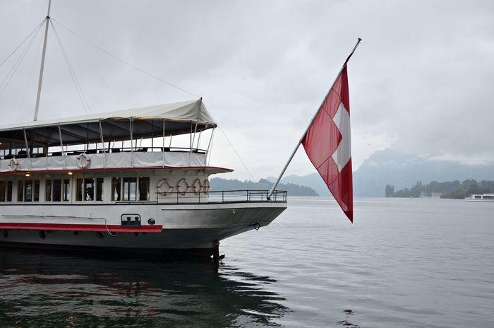 Clouds Flag Lake Lucerne Red Ship Sky Switzerland Switzerlandpictures