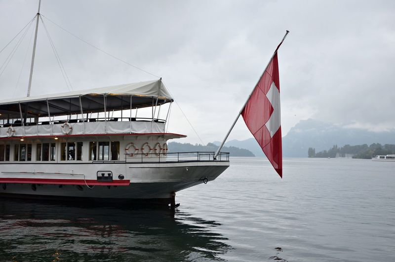 Clouds Flag Lake Lucerne Red Ship Sky Switzerland Switzerlandpictures
