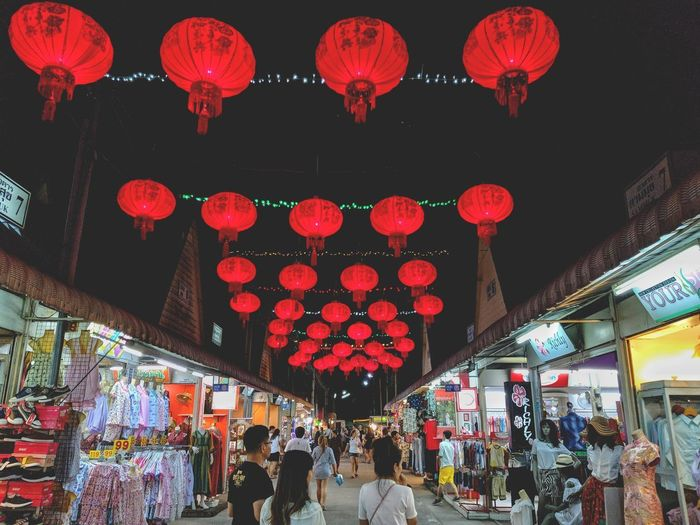 Sunday Night Chinese Lantern Hanging Decoration Lantern Low Angle View Night