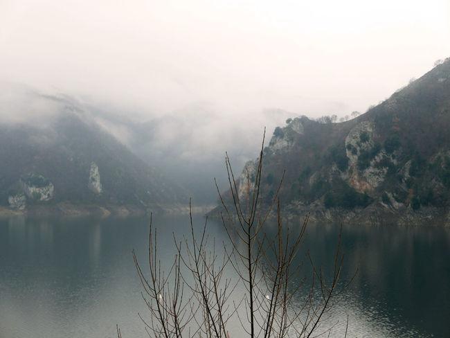 Fog Idyllic Lago Del Turano Lake Landscape Mist Reflection Scenics Tranquil Scene Tranquility Waterfront