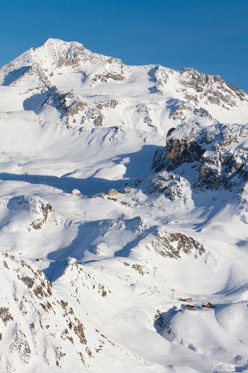 View of snow covered mountain, glacier de bellecote, la plagne ski resort in french savoy alps