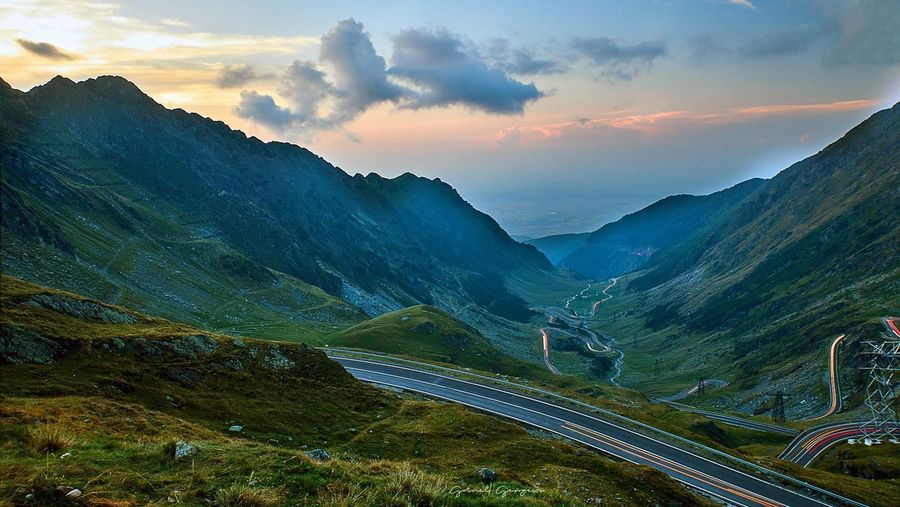 Transfagarasan EyeEm Selects Sky Mountain Scenics - Nature Cloud - Sky Environment Beauty In Nature Landscape Mountain Range Land Mountain Peak Transportation No People Sunset