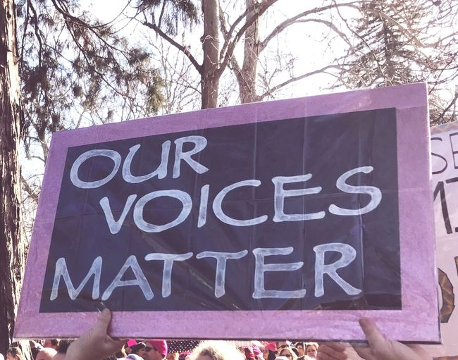 Women's march, Sacramento California, our voices matter, women's right, human rights, minority rights Women's March Equal Rights  Equality Free Speech Protest Human Right Activism Women's Rights Sign Text Communication Outdoors Day Tree No People Close-up Press For Progress