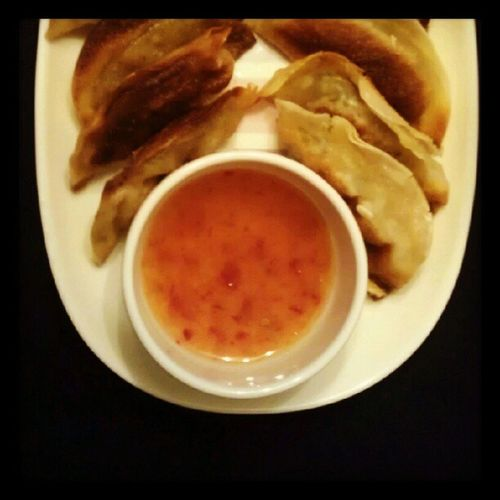 Gyozas and sweet chilli sauce Japanesefeast