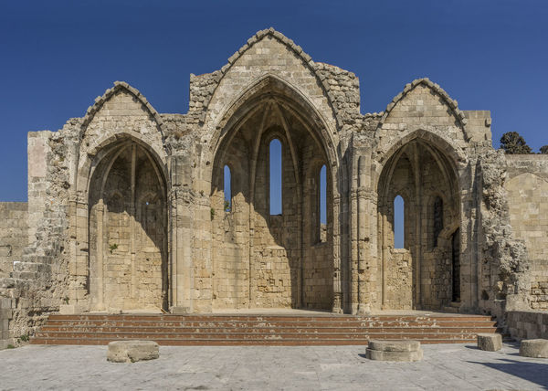Church of St Mary of The Burgh, Rhodes Rhodes Greece Ancient Arch Architecture Built Structure Day History No People Old Ruin Outdoors Place Of Worship Religion Ruined Church Travel Destinations