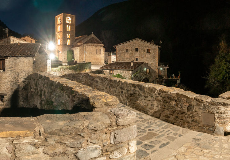 Old ruin building at night