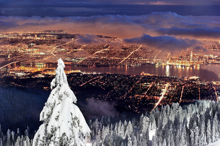 Vancouver City from Grouse Mountain Ski Resort at dusk Vancouver Vancouver BC British Columbia Travel Destinations Landscape Mountain Grouse Mountain Ski Resort  BC, Canada Travel Canada Skiing Winter Snow Snowboarding Dusk Sunset Cityscape Attraction Twilight Night Snowcapped Mountain Frozen Deep Snow Extreme Weather Powder Snow Ski Track