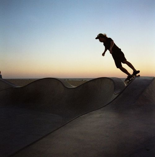 Venice Skatepark One Person Outdoors Extreme Sports Sand Sunset One Man Only Skateboard Park Skateboarding Venice Beach Ramp Rolleiflex Film