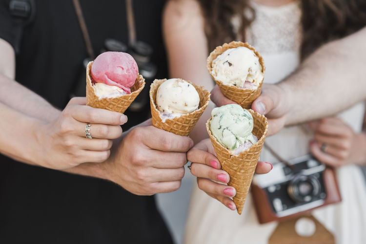 Cropped image of hand holding ice cream