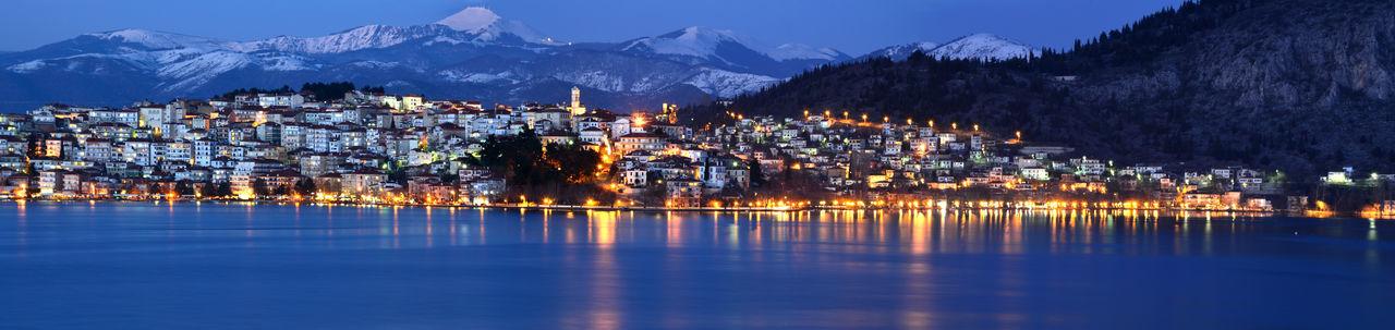 Panoramic night cityscape of kastoria, greece