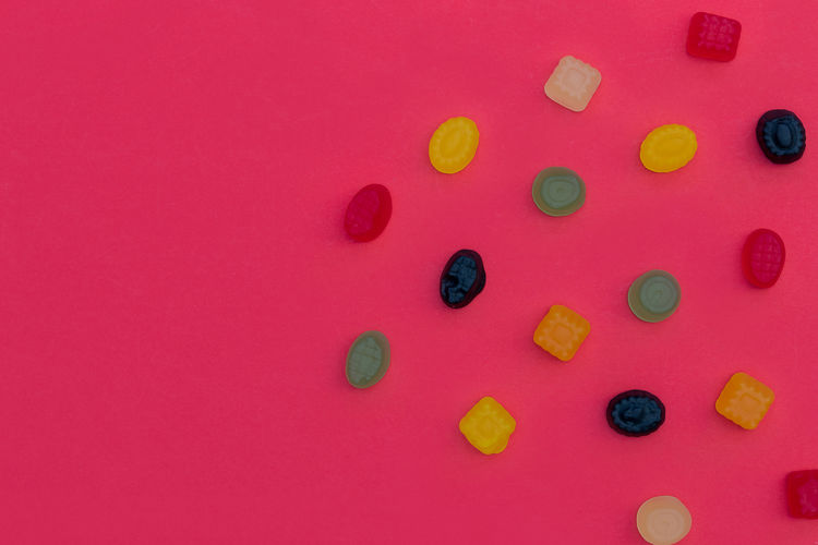 Candy Sweets Red Color Background Top View Above Minimal Food Abstract Pattern Bunch Group Sugar Pick Mix Iced Colorful Tasty Vibrant Green Yellow