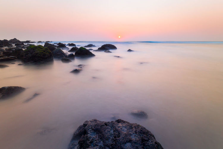 Beauty In Nature Day Horizon Over Water Nature No People Outdoors Rock - Object Scenics Sea Sky Sunset Tranquil Scene Tranquility Water