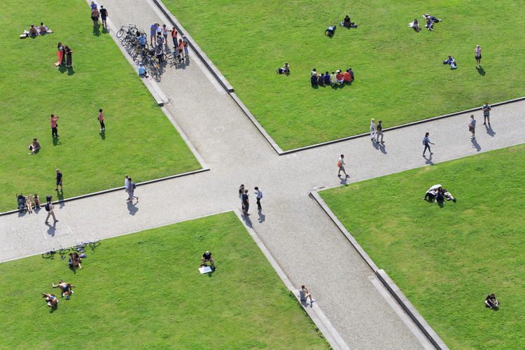 High angle view of people at park