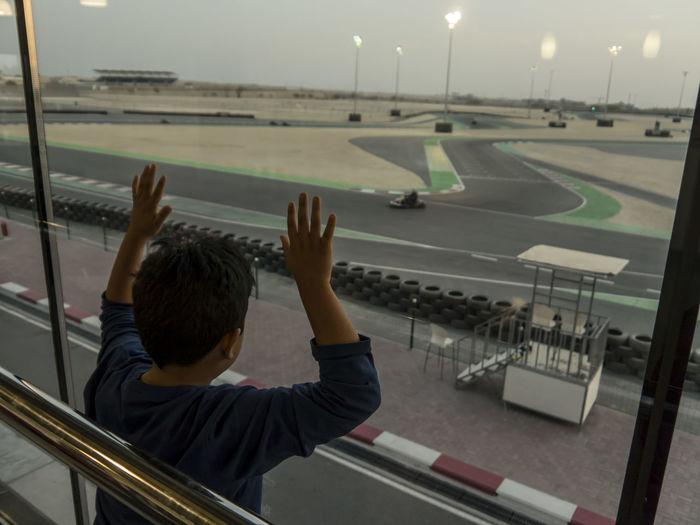 Manama circuit Karting Outdoors Bahrain Night Oil Out Kids Dreaming Stadium Rear View Sport