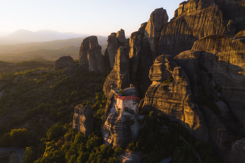 Sunset over Meteora, Greece Meteora Greece Monastery Drone  Aerial View Landscape Australian Photographers Travel Destinations Greek Mavic Pro 2 Physical Geography Rock Formation Beauty In Nature Travel Mountain Mountain Range Outdoors No People Tourism Nature Sky Cliff Sunset