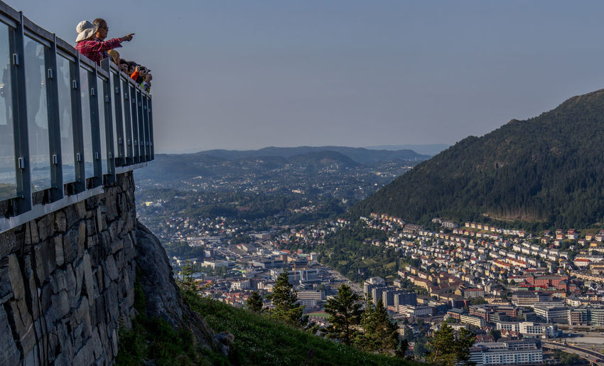 Fløibanen Bergen Funicular Norway View From The Top Scandinavia Architecture Building Exterior Built Structure Mountain City Residential District Cityscape Sky Nature Building Lifestyles Crowd Leisure Activity Day Mountain Range People Outdoors Crowded Railing TOWNSCAPE