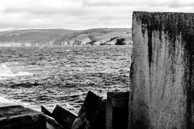Blackandwhite Malpica Docks Monochrome Concrete Blocks Civilengineering Cliffs Sea And Sky Seaside Atlantic Ocean