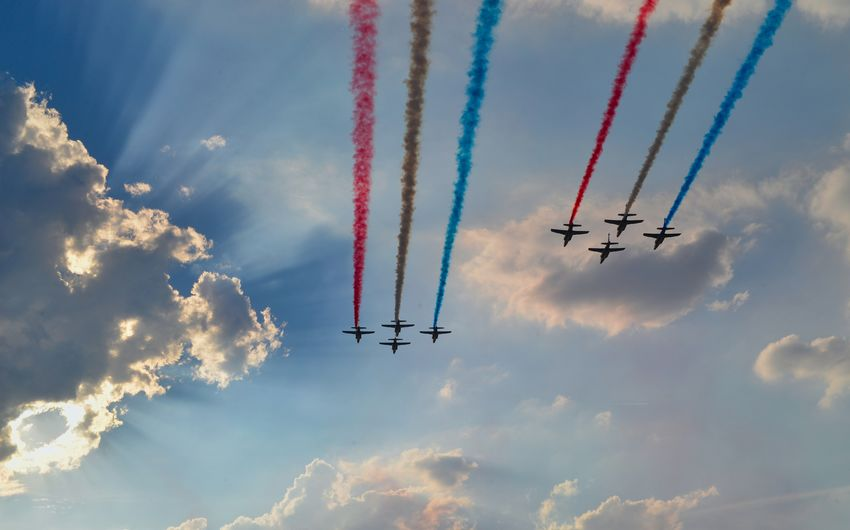 Aerobatics Aerospace Industry Air Vehicle Airplane Airshow Cloud - Sky Cooperation Fighter Plane Flying Low Angle View Mid-air Mode Of Transportation Motion Nature No People on the move Outdoors Plane Sky Smoke - Physical Structure Speed Teamwork Transportation