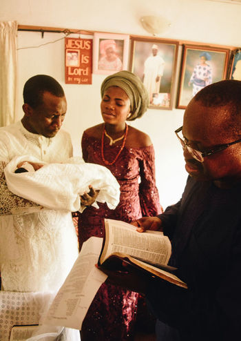 Naming Ceremony Baby Christening Family Mother Pray Child Father Naming Ceremony Newborn Pastor Prayer Priest