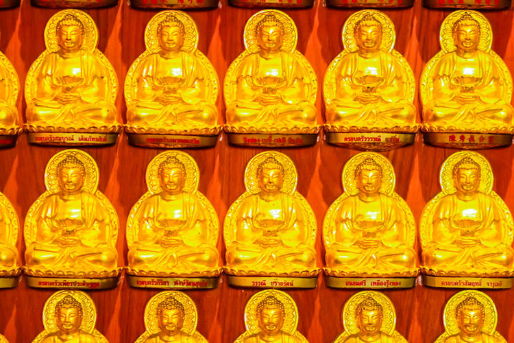 Beautiful Rows Of Golden Buddha Statues, Buddha series on the walat Wat Leng Nei Yi 2 in Nonthaburi, Thailand Buddha Series Buddha Statue In Thai Buddha Statues Golden Buddha Head Golden Buddha Image Nonthaburi Rowing Rows Of Golden Buddha Wat Leng Noei Yi 2 Abstract Abstract Art Backgrounds Buddha Statue Buddha Statue Color Gold Buddha Statue Temple Buddha Statue Thailand Close-up Full Frame Gold Colored Golden Buddha Golden Buddha Statue Golden Buddhas Golden Color Human Representation Idol Illuminated In A Row Indoors  Large Group Of Objects No People Red Row Rows Rows Of Things Statue