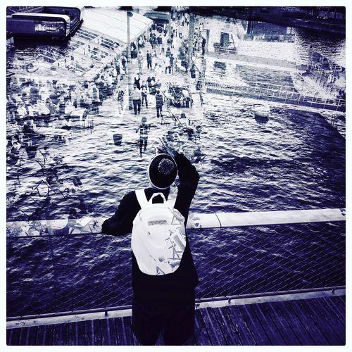 Paris, France  Black & White People Photography Bridge Seine Paris Water Seine Port Paris ❤ France 🇫🇷