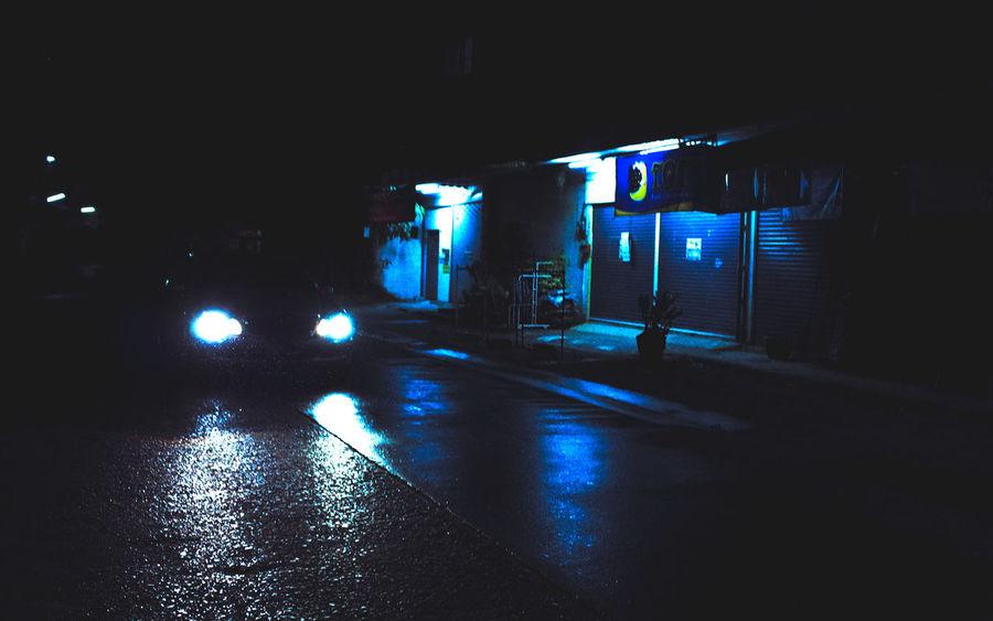 Khon Kaen Night Lights Rainy Night Thailand Blue Light Car Headlight Car Headlights Car Headlights At Night Car Interior City Illuminated Neon Lights Neon Lights In The City Night Night View Nightshot Rainy Road Transportation Wet Road
