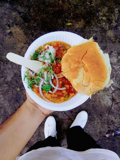 The Famous Pav bhaji Photography Photo Photooftheday Picoftheday #photography #JustMe #delicious #OldButNewToEyeEm #PicturePerfect #EyeEmNewHere #EyeEm #eyeemofthedy Directly Above Low Section One Person Food Stories