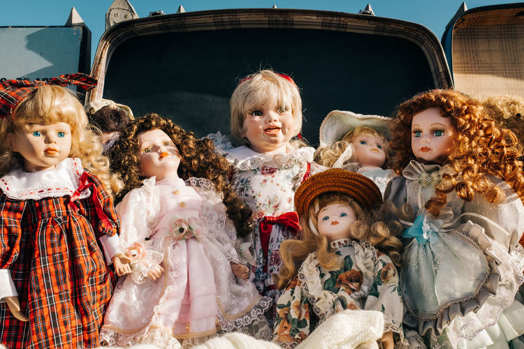 Porcelain  Boys Child Childhood Creepy Doll Female Likeness Females Front View Girls Group Of People Hairstyle Human Representation Indoors  Innocence Lifestyles Looking At Camera Real People Representation Sister Togetherness Toy Women