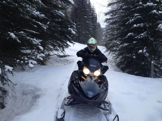 Son trail riding today Snowmobile Snowmobiling