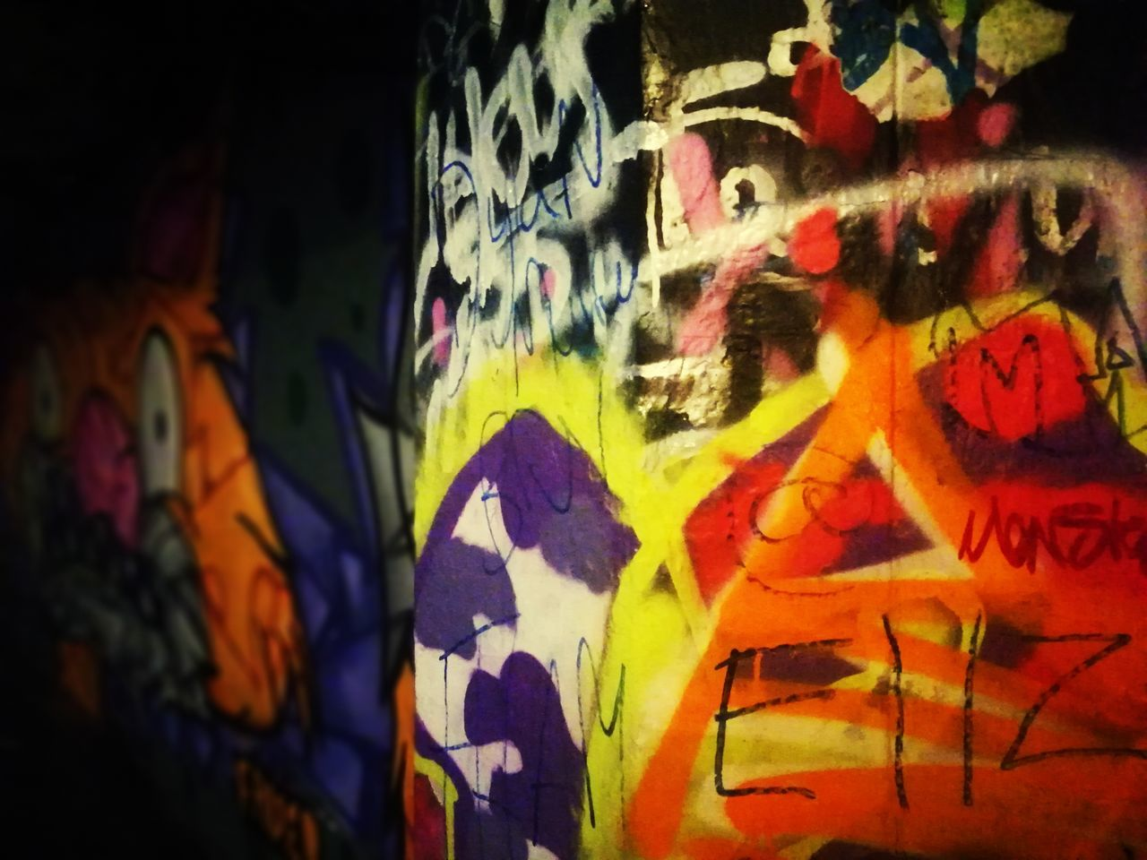 graffiti, multi colored, art and craft, close-up, paint, no people, indoors, day