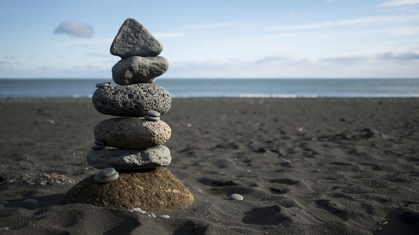 Art Balance Beach Beauty In Nature Black Beach Black Sand Close-up Cloud - Sky Day Horizon Over Water Nature No People Outdoors Pebble Rocks Sand Scenics Sea Sky Stack Tranquility Vik Vik Iceland Vík í Mýrdal Water