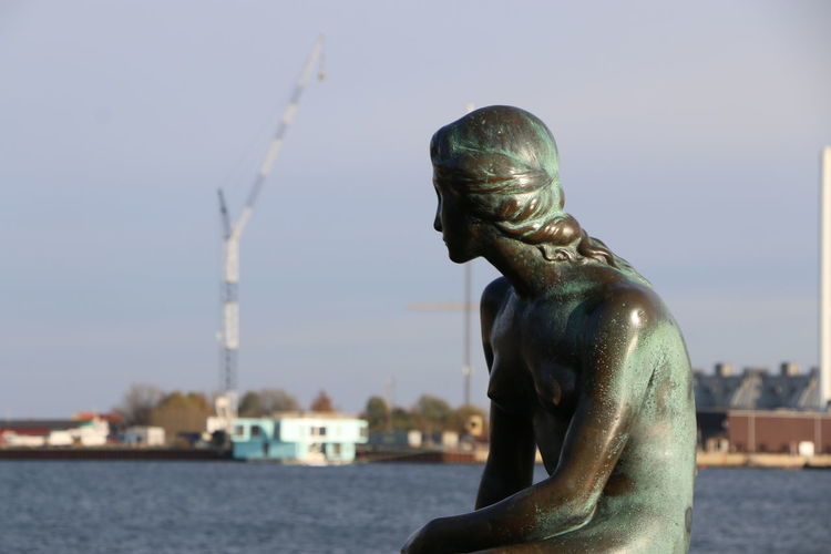 Close-up of statue by river against sky