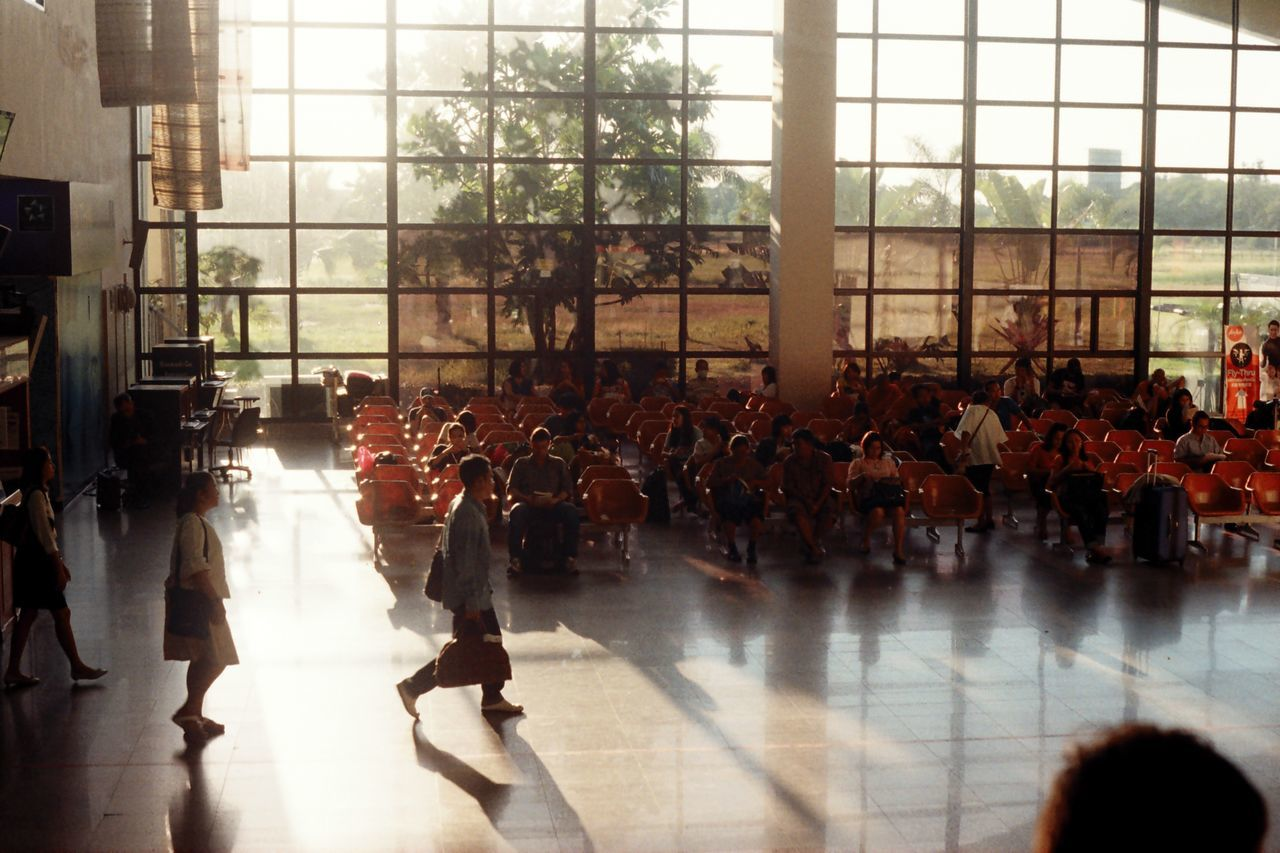 indoors, window, large group of people, real people, day, architecture, people