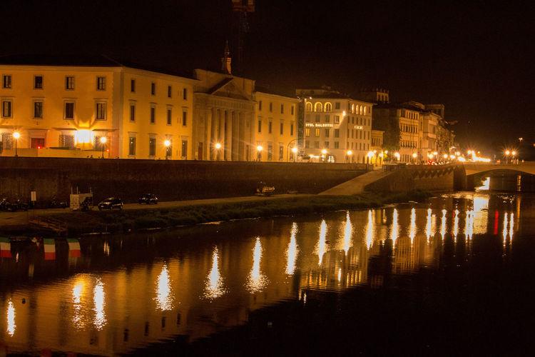 Architecture Firenze Illuminated Night Reflection Rio Arno Toscana Water