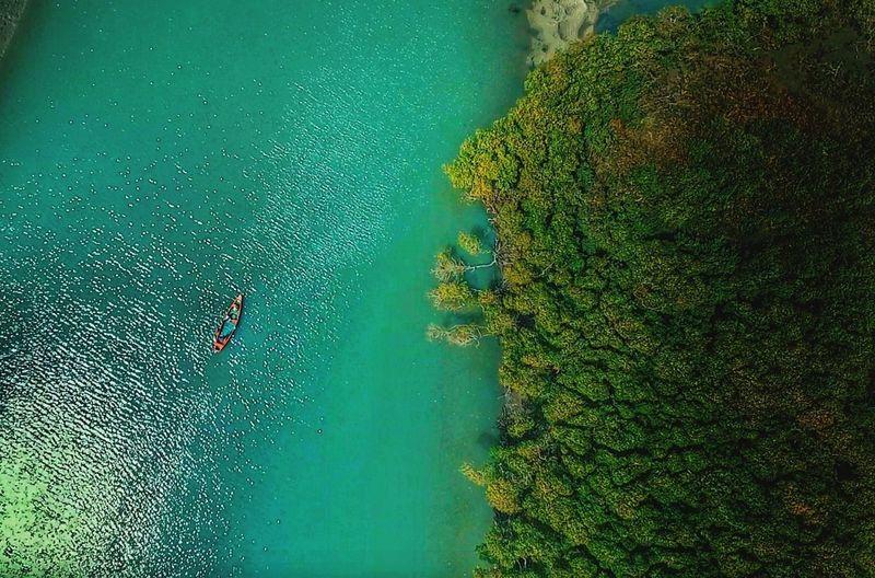 High angle view of man on lake