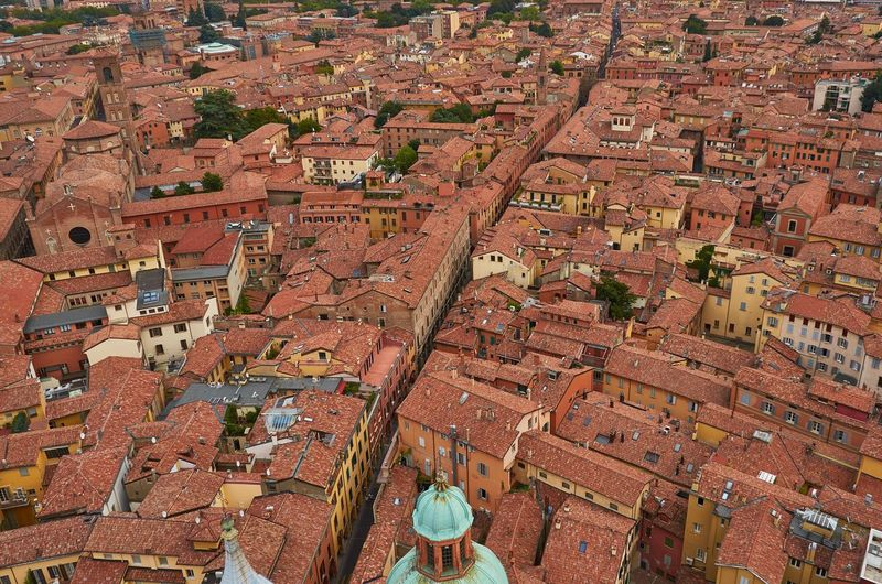 Bologna, Italy Bologna Italy Aerial View Looking Down Cityscape Urban Urban Landscape Rooftop Tiles Church Architecture Cupola Dome No People High Angle View Travel Destinations Historical Building Rooftops Street