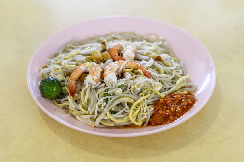 Prawn Noodles aka Hokkien Mee Chili  Close-up Food Food And Drink Hawker Food Indoors  Lime No People Noodles Prawns Ready-to-eat Singapore