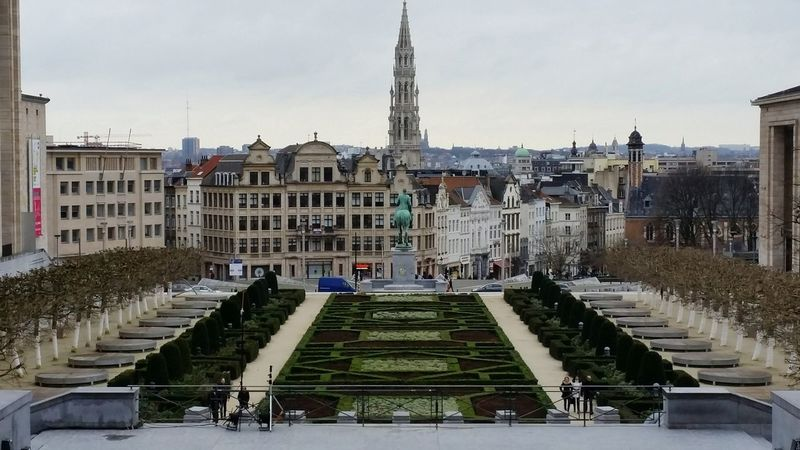 Belgium Brussels Park Architecture Grey Sky Sightseeing Beautiful City Traveling Joy Europe Green Leaves Statue Wide Angle