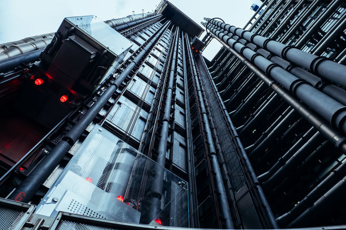 Elavator Futuristic Industrial Lloyds Building Architecture Building Exterior Built Structure City Futuristic Architecture Lifts Low Angle View Modern No People Pipes Scifi EyeEm Ready   EyeEm Ready