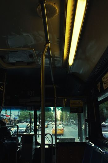 Bus On The Bus Vehicle Interior Mode Of Transport Public Transportation Journey Illuminated Indoors  Sunset Transportation Window Looking Out The Window Reflection NYC NYC Street Photography NYC Photography Bus Driver I'm Coming Home See You Soon Journey Alone