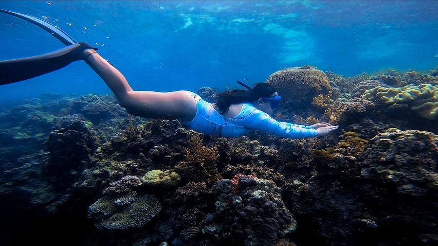 Full length of woman swimming undersea