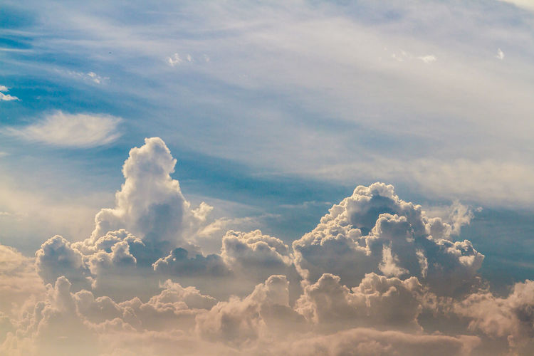 Low angle view of cloudscape against sky during sunset
