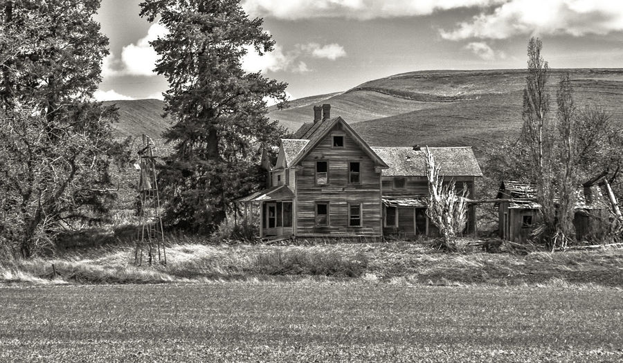 Black and white farm house Black & White The Palouse Driving The Back Roads Country Road Black And White