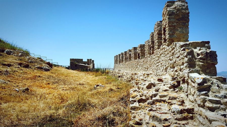 Ruins of Vicari's Castle Architecture Ancient Architecture Ancient Civilization Ancient Castle Castle Ruin Stonestructures Freedom Light Cool Wall Stone Wall Sun Beautiful Contrast And Lights Landscape Blue Land Bright Colors Ancient Building Defense Defense Architecture Blue Sky Historic Clear Sky Tall Calm