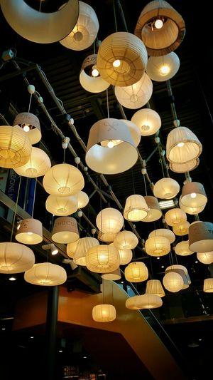Full frame shot of illuminated lanterns